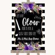 Black & White Stripes Purple Let Love Glow Glowstick Personalised Wedding Sign