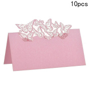 Dreammy 10 pcs Butterflies Laser Cut Wedding Table Name Place Cards Guest Table Cards Pink