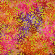 """Fabric Freedom Batik Print Quilting Patchwork Craft Fabric Pink Purple and Brown Flower Pattern Width 45"""" (114 cm)– Priced by Quarter Metre."""