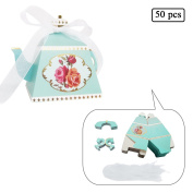 E-Goal 50PCS/Pack Mini Teapot Shape Wedding Favours Candy Boxes Gift Box Party Favour Boxes with Ribbons for Wedding, Party Decorations, Green