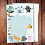 Pack of 20 Glossy Funny Cats Birthday Party Invitations Cards with 20 x Envelopes, cute, glossy surface, pets, for cat lovers, for adults and children, birthday celebration