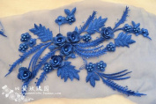 A2 3D beaded sequence lace applique motif sewing bridal wedding 39cm*26cm