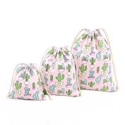 Cdet 3Pcs/Lot Storage Bag S M L Pink Cactus Drawstring Bag Finishing Bag Home Supplies Gift Bag