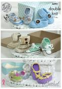 King Cole Baby Shoes Crochet Pattern 4492 DK