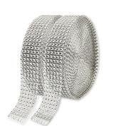 KAKOO 2 Rolls 6 Row 10 Yard/Roll Acrylic Rhinestone Diamond Ribbons Sparkling Mesh Ribbon for Wedding Cakes DIY Arts Crafts Decorations