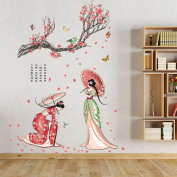 Wall Sticker, Chshe Chinese Antient Tang Dynasty Women Plum Blossom DIY Removable Wall Decal Family Home Sticker Mural Art Home Decor for Living Room Bedroom TV Background Wall