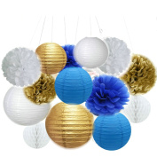 14PCS Mixed Royal Blue Gold White Tissue Paper Pompoms Hanging Honeycomb Ball Paper Lantern Royal Boy Prince Baby Shower Birthday Party Decoration Favour
