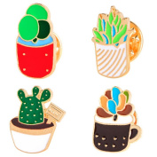 iTemer Cute Cartoon Plant Flower Cactus Brooch Enamel Pin Badge Brooch for Clothes Bags 4 Pcs