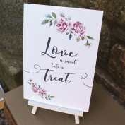 White Boho Love is Sweet card and easel Wedding Sweet Candy Bar Sign