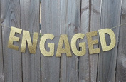 Happium - Engaged Gold Glitter Bride To Be Banner Wedding