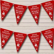 Vintage Text Engagement Dark Claret Red Engagement Party Bunting Banner