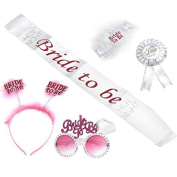 Veewon Bride To Be Sash Glasses Badge Garter Headband Hen Party Set Kit for Hen Night Girls Night Out Party Wedding Decorations