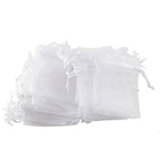 "iShine 100pcs Pure Colour Organza Gift Bags Wedding Party Favour Bags Jewellery Pouches Wrap 2.7""x3.5""/7x9cm White"