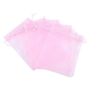 "iShine 100pcs Pure Colour Organza Gift Bags Wedding Party Favour Bags Jewellery Pouches Wrap 3.9""x4.7""/ 10 x 12cm Pink"