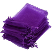 "iShine 100pcs Pure Colour Organza Gift Bags Wedding Party Favour Bags Jewellery Pouches Wrap 3.9""x4.7""/ 10 x 12cm Purple"