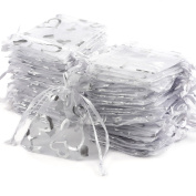 100 PCS Organza Jewellery Candy Gift Pouch Bags Wedding Party Xmas Favours Decor (9cm x7cm, Silver