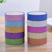 Gemini_mall® 10 Rolls Glitter Washi Sticky Paper Masking Adhesive Tape Label DIY Craft Scrapbooking Decorative Tapes