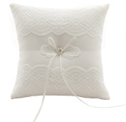 Lace flowers Wedding Ring Pillow Cushion - Ivory 21 cm * 21 cm