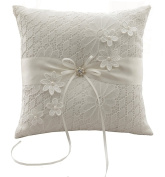 Lace and flowers Wedding Ring Pillow Cushion - Ivory 21 cm * 21 cm