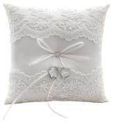 Wedding Ring Pillow Cushion Elegant Ivory White Design with 21cm*21cm