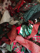 CHRISTMAS 100% COTTON FABRIC NB These are OFFCUTS STRIPS REMNANTS ROLL ENDS. Ideal for rag wreaths, strip patchwork, crafting READ PRODUCT DECSCRIPTION