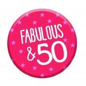 Fabulous 50 Today 50th Birthday Badge 58mm Pin Button Funny Novelty Gift Idea For Her Women