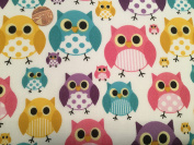 The Craft Junction Multicoloured Owls Design Polycotton Fabric Craft Dressmaking Sewing - Per Metre