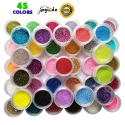 Magicdo Nail Art Glitter Powder - Makeup Decoration Power Dust, Nail Sequins, Colour-changing Mirror Chrome Glitter Dust for Kids, Adult, Art Projects or Scrapbook, Face, Nail, Eye Art,45 Colours