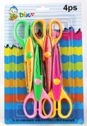 SMARTSTORE 4 pcs Craft Border CARDMAKING SCISSORS For Kids -Pinking Scissors, Create Edging Effects for Paper & Card