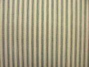 1m Charcoal Grey & Cream COTTON CANVAS French Ticking Fabric Extra Wide Width 214cm
