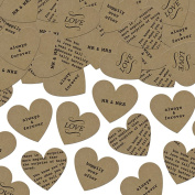 Craft Paper Hearts Confetti with Romantic Words XP093