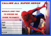 X 10 SPIDERMAN CHILDRENS BIRTHDAY PARTY INVITES INVITATIONS