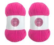 Fuchsia House of Cecilia 2 x 100g balls 100% acrylic knitting yarn crochet crafts