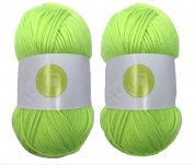 Fluo Green House of Cecilia 2 x 100g balls 100% acrylic knitting yarn crochet crafts