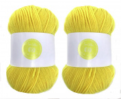 Sun Yellow House of Cecilia 2 x 100g balls 100% acrylic knitting yarn crochet crafts