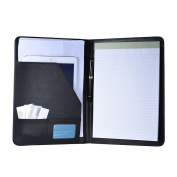 Aibecy Multifunctional Business Portfolio Padfolio Folder Document Case Organiser A4 PU Leather with Business Card Holder Memo Note Pad