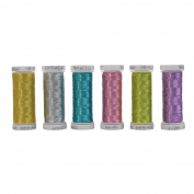 Simthreads 6 Colours Metallic Embroidery Thread, 200 Yards Each