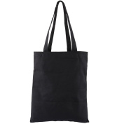 sourcingmap® Lady Shopping Canvas Books Clothes Mirror Cosmetic Holder Container Tote Bag Black