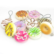 5Pcs Squishy Donuts Cell Phone Charm Strap Key Bag Chain Squeeze Toy Gift Home Decoration