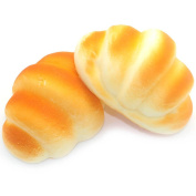 2Pcs Delicious Slow Rising Squishy Croissant Scented Bread Bun Phone Charm Bag Strap Squeeze Toy Fun