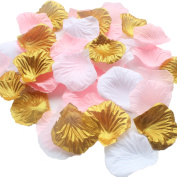 900 Pack Mixed Pink Gold White Artificial Silk Rose Petal Flower Centrepieces Table Scatters Confetti Girl Baby Shower First Birthday Party Nursery Decoration Wedding Favour