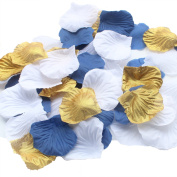 900 Pack Mixed Royal Blue Gold White Artificial Silk Rose Petals Wedding Table Scatters Confetti Christening Boy Baby Shower Party Decoration Favour