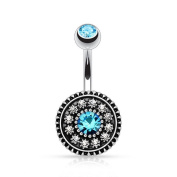 Blue Crystal Flower Navel Ring Piercing Belly Button Ring Body Jewellery Vintage Ring Bar