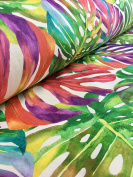 TROPICAL PALM LEAVES Fabric Curtain Upholstery Cotton Material jungle palm leaf / 140cm wide (sold by the Metre) green red pink