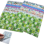 Misscrafts 20pcs 10cm*15cm Self-adhesive Fabric Scrapbooking Sewing Art Sign Sticker Paper Foral Assorted Patterns Dot DIY Hobby Crafter Gift Decor