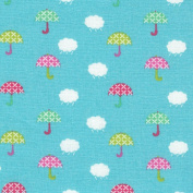 Red, Pink, Greens & White on Turquoise Fabric (Take Your Umbrella!) mini design fabric | French 100% cotton fabric - 140 cm / 55 inches wide | Per half metre length increment*