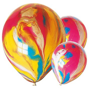 150cm X 28cm Marble Party Balloons Paint Latex Rainbow Swirl Funky Birthday Effect.