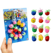 12 MINI MOODY FACES STRESS STRETCH SQUISHY BALLS PARTY BAG STUFFERS KIDS FUN TOY