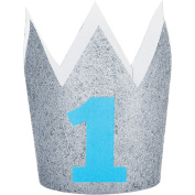 Silver Glitter Blue 1st Birthday Party Paper Crown. Birthday Party. Birthday Boy