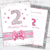 2nd Birthday Party Invitations - Pink Sparkly Design and Photo Effect Silver Glitter - A6 Postcard Size with envelopes